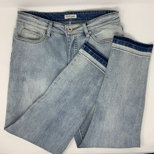 Tribal Jeans Acid Washed Ankle High Waisted